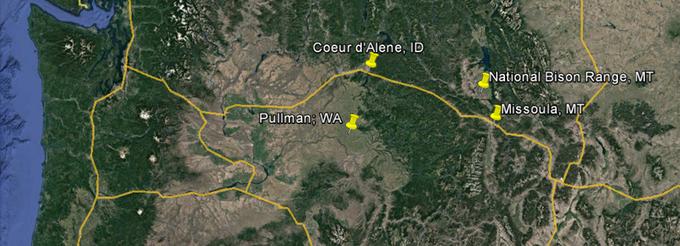 Abbildung1: Streckenführung des achten Exkursionstages. Quelle: VerändertnachGoogle Earth 2016