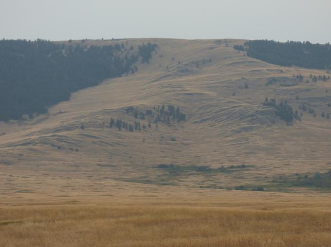 Abbildung20: Uferlinien und Kliffs des Glacial Lake Missoula an den Hängen in der National Bison Range. Quelle: Wiedenhöfer 2016