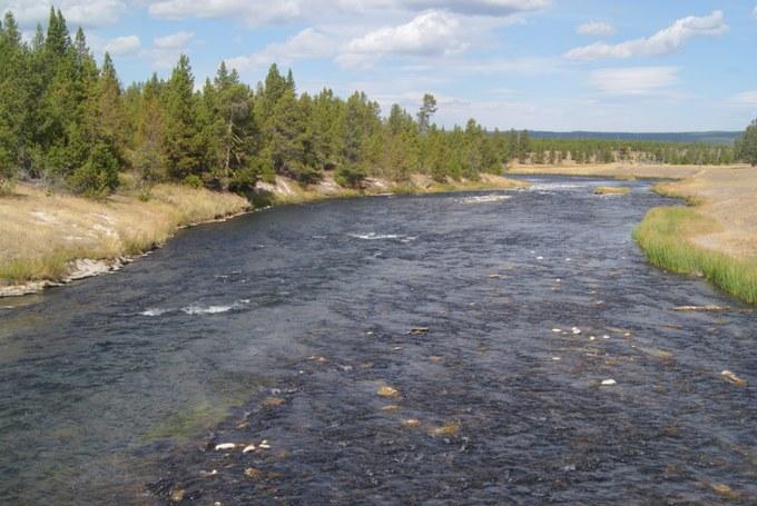 Abbildung 25: Firehole River in der Nähe des Grand Prismatic Spring. Der Firehole River fließt mit dem Gibbon River bei Madison zusammen und wird zum Madison River. Quelle: Riegel 2016