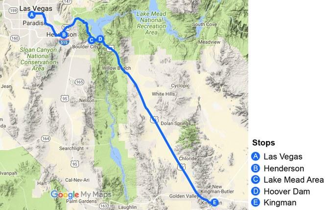 Abbildung 1: Übersicht des Routenverlaufs. Quelle: Google Maps 2018, verändert.