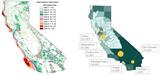 Karte 2 Windstärken in Kalifornien und Karte 3_Größte Windkraftanlagen Kaliforniens