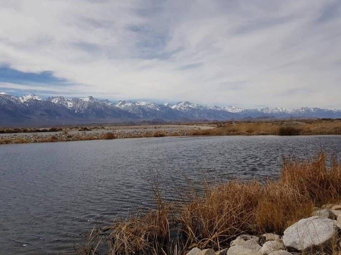 Abbildung 7:Der Owens Lake vor dem Hintergrund der Sierra Nevada (Quelle: SCHINDLER 2018).