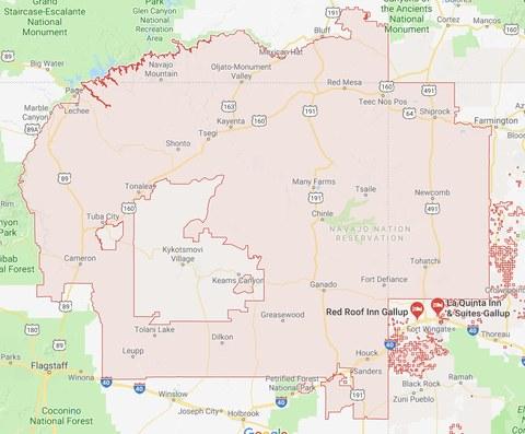 Abbildung 2: Gebiet der Navajo Nation Reservation (Quelle: Google Maps 2018)