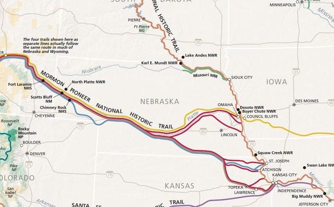 Abbildung 6: National Trail System mit dem Startpunkt des Oregon Trail in Independence, Missouri.