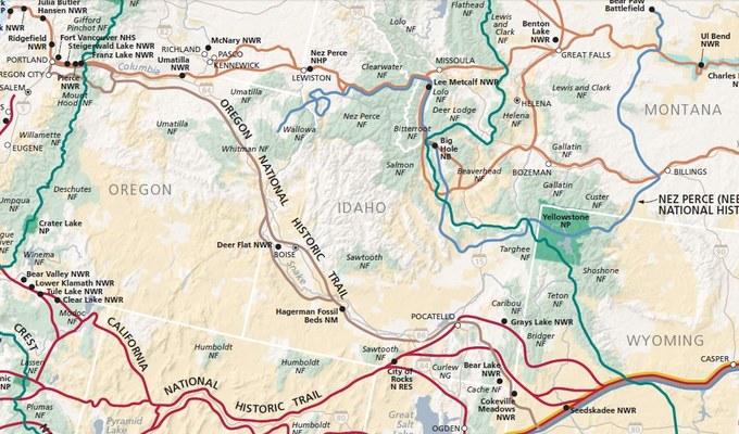 Abbildung 7: National Trail System mit der Abspaltung des Oregon Trail im heutigen Wyoming.