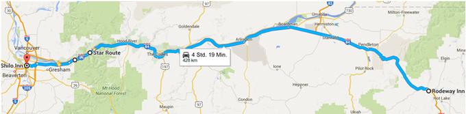 Streckenabschnitt La Grande - Portland. Quelle: Darstellung mit Google Maps, Voß 2016