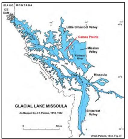 Abbildung19: Karte des Glacial Lake Missoula. Quelle: Lee 2009