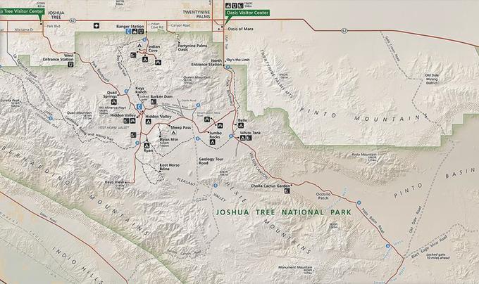 Karte 4: Joshua Tree National Park - Überblick. Quelle: National Park Service (o.J.).