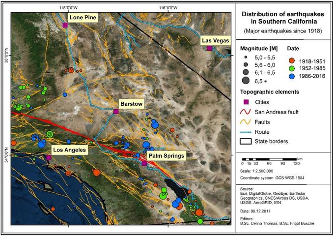 Abbildung 2:Übersicht der Verwerfungssysteme im Westen der USA. San Andreas Verwerfung rot dargestellt (Quelle: BUSCHE und THOMAS 2017).